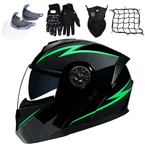 KILCVEM Cascos de motocicleta aprobados por DOT/ECE modulares abatibles delanteros (4 piezas) con visera solar, casco de carreras de cara completa para adultos hombres y mujeres - negro verde, XL