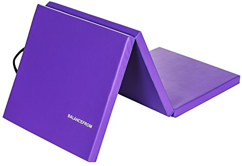 """BalanceFrom 2"""" Thick Tri-Fold Folding Exercise Mat with Carrying Handles for MMA, Gymnastics and Home Gym Protective Flooring (Purple)"""