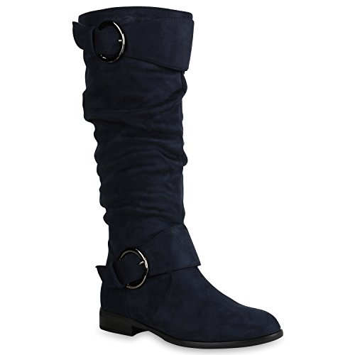Klassische Damen Schuhe Stiefel Veloursleder-Optik Boots Leicht Gefüttert 152125 Dunkelblau Bexhill 36 Flandell