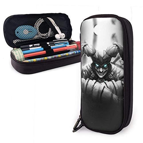 Shaco The Demon Jester Federmäppchen für Erwachsene und Studenten Buggy-Beutel Reißverschluss Leder-Federmäppchen Make-up-Beutel für Bleistift-Kugelschreiber-Marker.