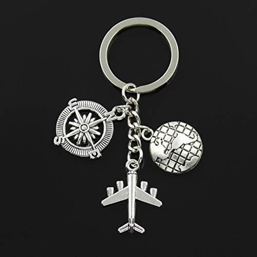 HXYKLM sleutelhanger mannen, metaal, zilverkleurig, vintage, voor reizen, aarde, vliegtuig, paspoort, kompas, bedeltjes, knutselen, auto, sleutelhanger, sieraden, geschenken
