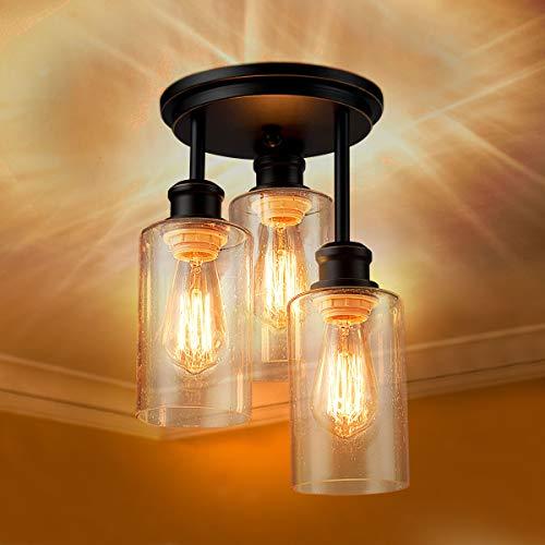 COSTWAY Deckenleuchte 3 Flamming Glas, Deckenlampe modern, Lampe Vintage mit halboffenen Glasschirmen, E27 Sockel Perfekt für Küche, Esszimmer