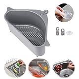 Sink Basket,Sink Strainers Basket,Triangular Sink Strainer Basket Storage Rack Sucker for Kitchen Bathroom Support Corner (gray)