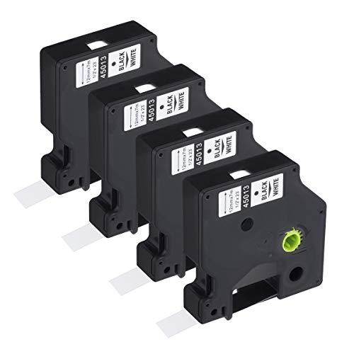 Powerextra – Cinta de Etiquetas Dymo 45013 Compatible para Usar en Lugar de Dymo D1 45013 12mm x 7m para LabelManager 160 210D 260p 280 360d 420p LabelPoint 150 250 LabelWriter 450, 4-Pack Blanco