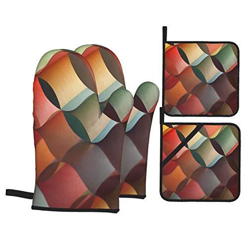 Juegos de Manoplas y Porta ollas para Horno,Imagen Macro de Fondo del patrón de Origami Colorido Guantes de Cocina Resistentes al Calor para Hornear en la Cocina, Parrilla, Barbacoa,BBQ