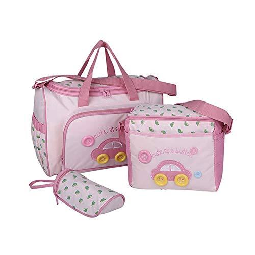 Crazyfly 4 unids/set multifunción impermeable bolsa para mamá, caricatura, botella de coche de dibujos animados mamá bolso de hombro cochecito maternidad bebé cuidado bolsa