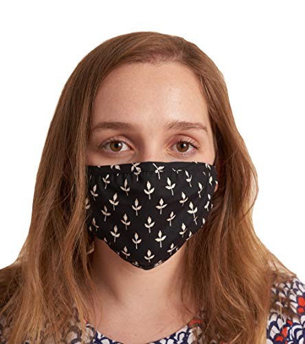 Hatley Double Layer Face Mask with Ear Elastic Bufanda de moda, Black Tiny Buds, Talla única Unisex Adulto