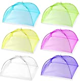 Alysontech 6 pack Colored Large Pop-Up Mesh Food Cover Tent,17 Inches Food Protector Covers Reusable and Collapsible Outdoor Picnic Food Covers Tent For Parties Picnics, BBQs