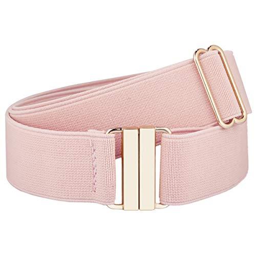 moonsix Dress Belt for Women Wide Elastic Waist Belt Adjustable,Classic Cinch Belt Stretch Waistband,Pinkw/goldenBuckle