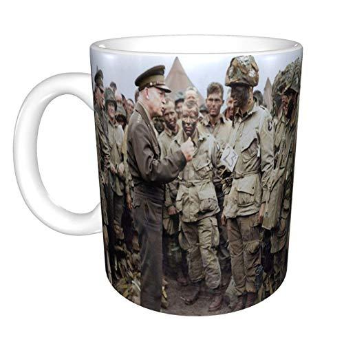 Tazas General Dwight D. Eisenhower Addresses American Paratroopers Prior To D-Day. Taza de Café de Cerámica Personalizada Taza de té El Mejor Regalo Para la Oficina en Casa 11.6oz (330ml)