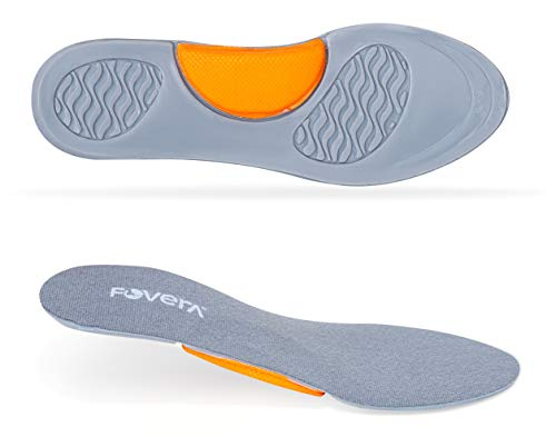 FOVERA Arch Support Gel Insole Pair - Best for Flat Feet, Plantar Fasciitis, Running, Foot Pain - Full Length Orthotics for All-Day Comfort (Large - Male)