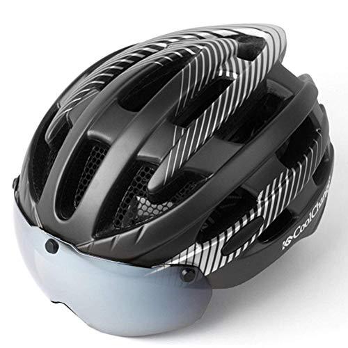 ZGYQGOO Casco de Bicicleta de Ciclismo con Gafas magnéticas Desmontables Visor Shield para Mujeres Hombres con Franja Reflectante Casco de Bicicleta de Ciclismo para Adultos especializado