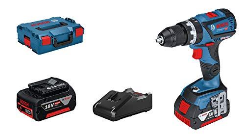 Bosch Professional 18V System GSB 18V-60 C - Taladro percutor a batería (60 Nm, 1900 rpm, conectable, 2 baterías x 4,0 Ah, en L-BOXX)