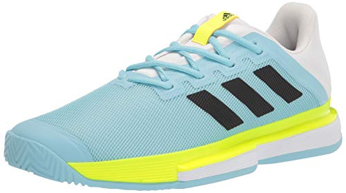adidas Solematch Bounce, Zapatos de Tenis Hombre, Hazy Sky Negro Solar Amarillo, 44 EU