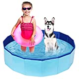 PVC Pet Swimming Pool Portable Bathtub Collapsible Water Pond Pool Foldable Dogs Bathing Tub Garden Pool Cat Puppy Shower Spa Kiddie Pool for Kiddies Pets to Swim and Bath (39.3' x 11.8')