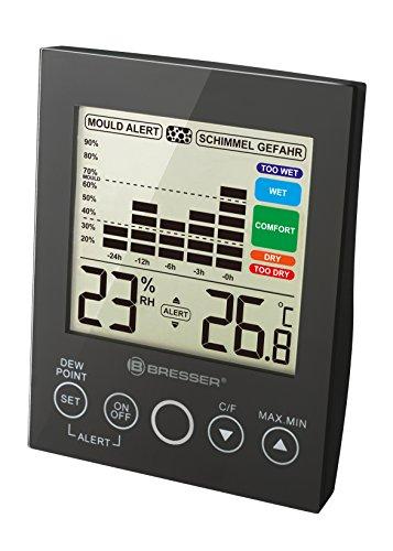 Bresser MA digitales Hygrometer mit Schimmelalarm, Farbdisplay, Touchbedienfeld, graphischer Komfortzonenanzeige, Lüftungshinweis und 24-Stunden Temperatur Historie, schwarz