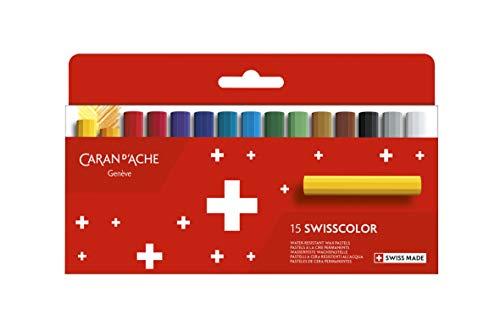 Caran d'Ache 7002.815 Swisscolor wasserfeste Wachs-Pastell Farbstifte 15 Stück