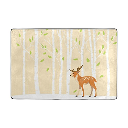 ALAZA My Daily Deer and Birch Tree Area Rug 2 x 3 Feet, Living Room Bedroom Kitchen Decorative Unique Lightweight Printed Rugs Carpet