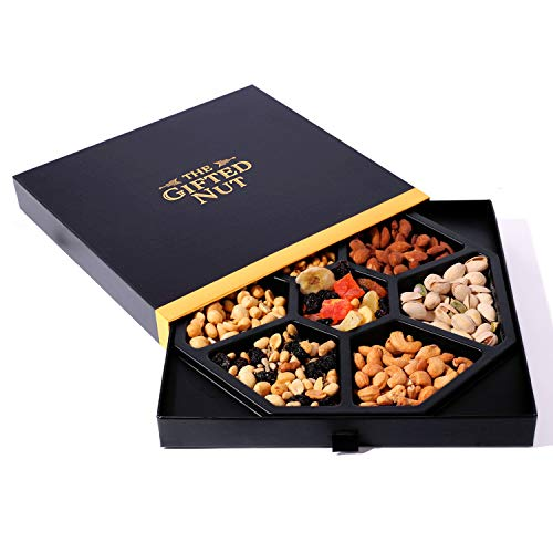Gifted Nut Nuts Gift Tray - Assorted Fresh Gourmet Dry Fruits and Nuts Gift Box - Elegant Drawer Design for Corporate Gifts, Holiday Gifts, and Personal Presents - Mixed Nuts Sectional Tray