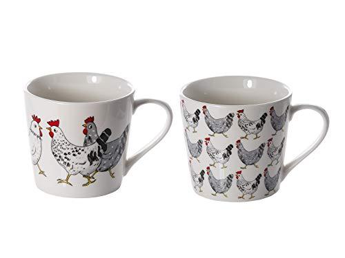 Lot de 2 Tasses à Café en Porcelaine 426 ml avec Poule Animaux de la Ferme