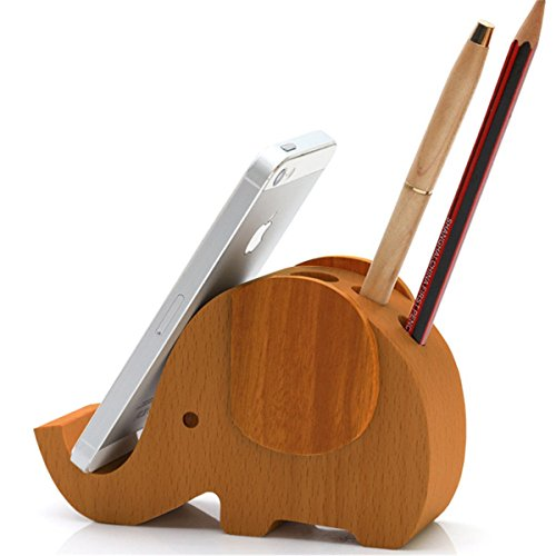 APSOONSELL Wooden Elephant Phone Holder with Cute Desktop Card/Pencil Organizer
