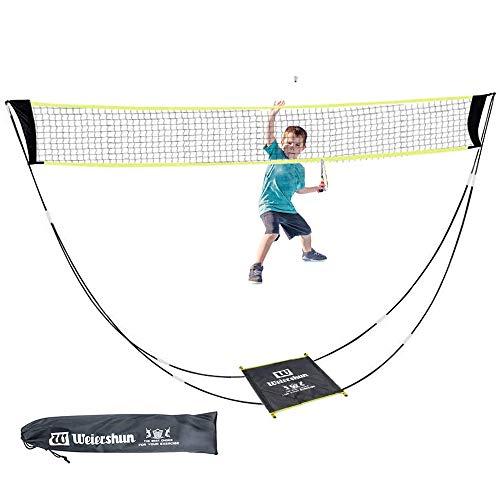 KIKILIVE Redes de bádminton portátil Set con Bolsa de Soporte,Red de Voleibol para Deportes de Playa en Interiores al Aire Libre: se instala en Cualquier Superficie en Segundos (Dark Black)