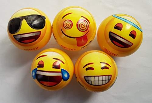 Happy People GmbH + Co. KG 5X Gummiball Emoji - beidseitig Bedruckt - Dm: ca. 11 cm - 5 Motive