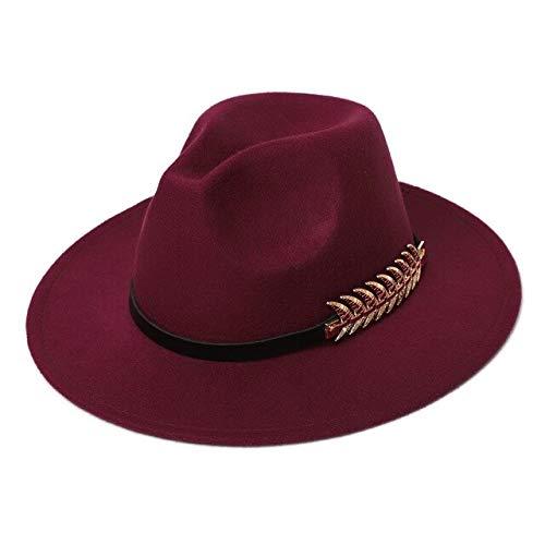 Mdsfe dames cilinder hoed kunstwol vilt winter gentleman church hoed classic Jazz Fedora hoed k2424 wijnrood-A2424