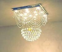 PXY モダンな正方形クリスタルシャンデリア照明リニアフラッシュマウントペンダント照明W70 X H75 Cm