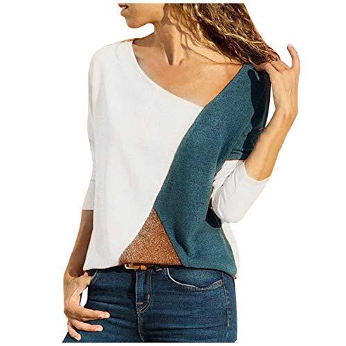 여성용 가을 긴 소매 셔츠 캐주얼 패션 루스 컴피 컬러 블록 플러스 사이즈 튜닉 블라우스