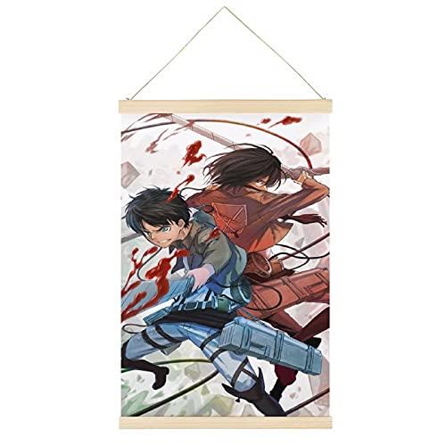 EKEL Cartel de pergamino de pared con diseño de anime de Ataque a Titán le permite colgar carteles de pergamino en lienzo, pintura decorativa para pared, decoración de habitación, 61 x 91 cm