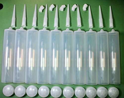 10 leere Kartuschen mit 10 Spitzen, 10 Kolben und 5 Winkel