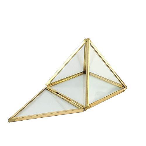 Transparante juwelendoos van glas, met versieringen voor ringen, oorbellen, bewaren van bloem, glazen box slaapkamer, woonkamer, werkkamer, kantoor en andere scènes Pyramide goud