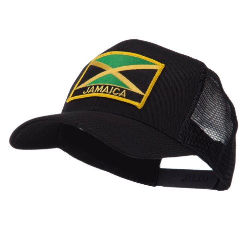 North and South America Flag Letter Patched Mesh Cap - Jamaica OSFM