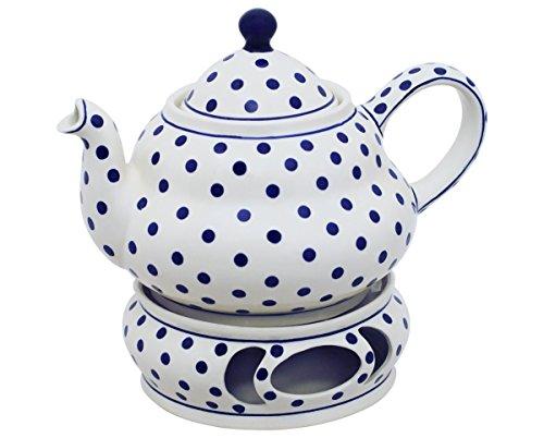 Original Bunzlauer Keramik Teekanne 1,5 Liter mit integriertem Sieb und Stövchen im Dekor 37