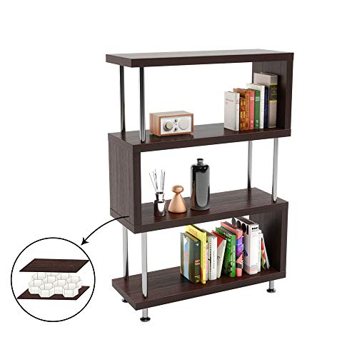 Bestier 4 Shelf Ladder Bookshelf, Hollow-core Board Modern Bookcase Bedroom Storage Shelf, Open S Shaped 4Tier Industrial Bookshelf Book Display Stand for Home Office