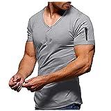T-Shirt Herren, Kurzarm Sommer T-Shirt V-Ausschnit Tee Basic Männer T-Shirt Einfarbig Kurzarmshirt...