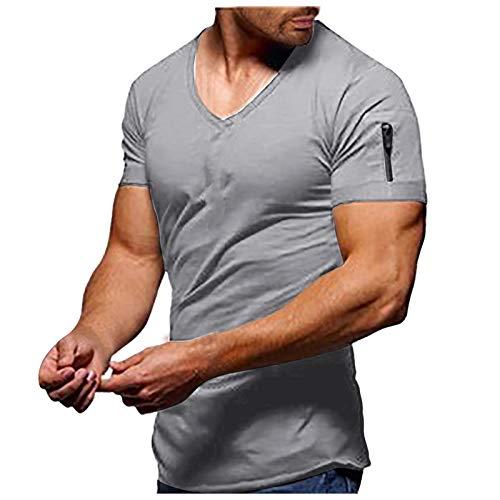 T Shirt Herren V-Ausschnitt Kurzarm Große Größe Schnelltrocknend Lässige Fitness Sport Tshirt Männer Sportshirt Muskelshirt Funktionsshirt Sweatshirt Laufshirt Trainingsshirt