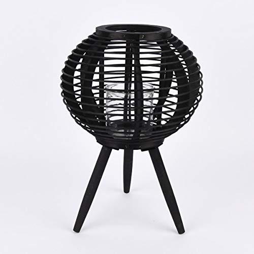 Mooi leven. Lantaarn op driepoot met kaarsglas bamboe zwart 34x49cm