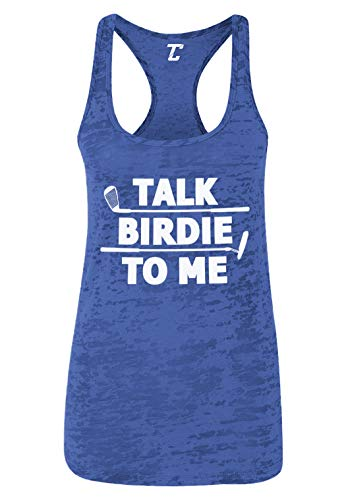 Talk Birdie to Me - Golf Pun Funny Women's Racerback Tank Top (Royal Blue, Medium)