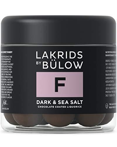 LAKRIDS BY BÜLOW - F - DARK & SEA SALT - 125g - Dänische Gourmet Lakritz-Kugeln - Süßer Lakritzkern umhüllt von Dunkler Schokolade & Meersalzflocken