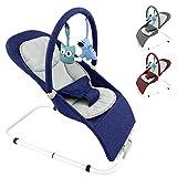 Baby Babywippe Schaukelstuhl mit abnehmbarem Bezug und Spielebogen - in 3 Farben (Blau)