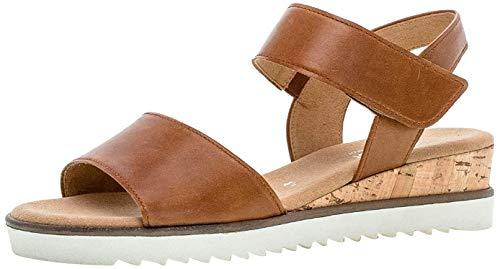 Gabor Damen Sandalen, Frauen Keilsandalen,Comfort-Mehrweite, Keilsandaletten sommerschuh bequem flach Damen Frauen,Camel (Kork/Creme),38 EU / 5 UK