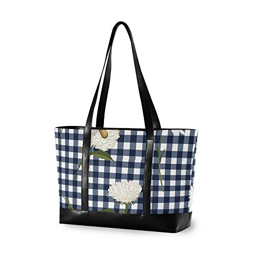 RELEESSS Tote Laptop Bags Flower Geometric Plaid Handbag Shoulder Bag Laptop Case for Women Ladies Girls
