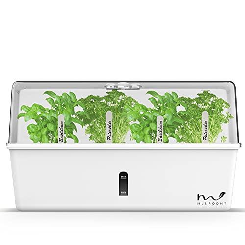 MUNROOMY Mini Gewächshaus als Anzucht Set - ideal zur Anzucht von Kräutern & Pflanzen - Indoor Kräutergarten für die Fensterbank - Zimmergewächshaus mit Selbstbewässerungssystem