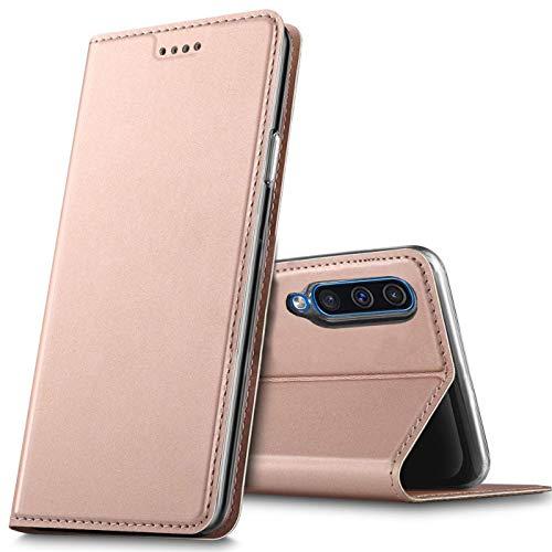 Verco Handyhülle für Huawei P Smart Pro, Premium Handy Flip Cover für Huawei P Smart Pro Hülle [integr. Magnet] Book Hülle PU Leder Tasche, Rosegold