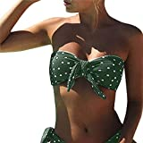 Voqeen Bikini Mujer Dos Piezas Ropa con Estampado de Lunares Push-Up Traje de baño con Lazo Mujeres Cuello Halter Sin Tirantes Bandeau Bikini Traje de baño (XL, Verde)