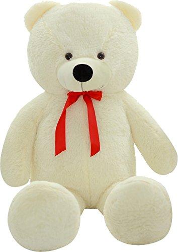 Shaik® XL Kuschel-Teddybär 100-180 cm (diag.) groß in Braun und Weiss - TÜV SÜD geprüft - Plüschbär Teddy Kuscheltier Stofftier (150 cm, Weiß)
