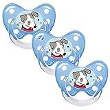 Dentistar® Silikon Schnuller 3er-Set – Größe 3 ab 14 Monate – Zahnfreundlicher & kiefergerechter Silikonschnuller mit Dental-Stufe – Blau mit Hunde-Motiv – BPA-frei – Made in Germany