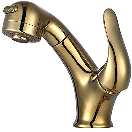 Faucet Copper Hot and Cold Pull able Lavatory Faucet Rose Gold Retractable Shampoo Wash Basin -Gold